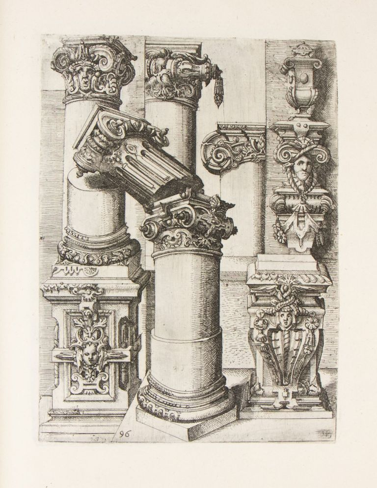 A magnificent, profusely illustrated sammelband, consisting mainly of (more than 300) large engraved and etched plates, comprising several major architectural treatises - including the masterpiece of the mannerist architecture Wendel Dietterlin and three important suites by Vredeman de Vries- augmented with an additional three rare series of plates of architectural elements and ornaments.