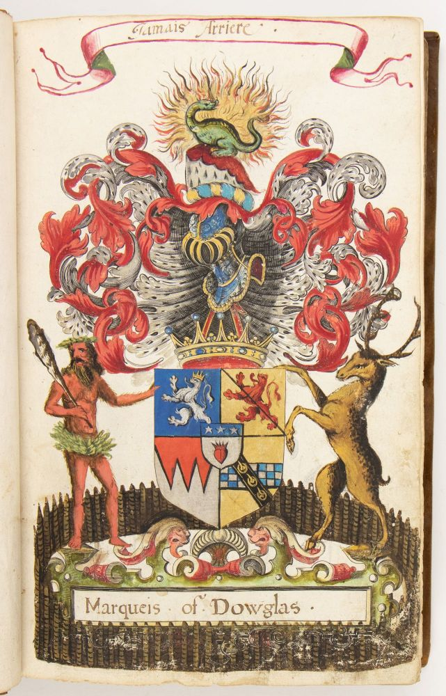 17th century volume of painted arms of the Scottish nobility, each painting executed over a...