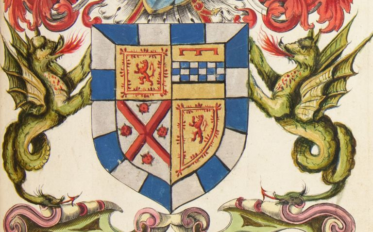 17th century volume of painted arms of the Scottish nobility, each painting executed over a generic engraved armorial template.