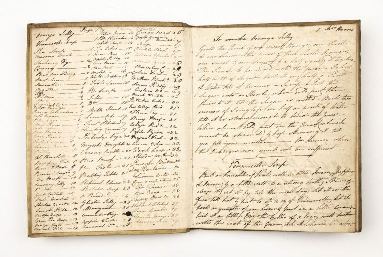 Cookery and Household Recipes notebook. Manuscript on paper, watermark: Britannia, countermark: 1805. With an accounting note in the ms. dated 1835.