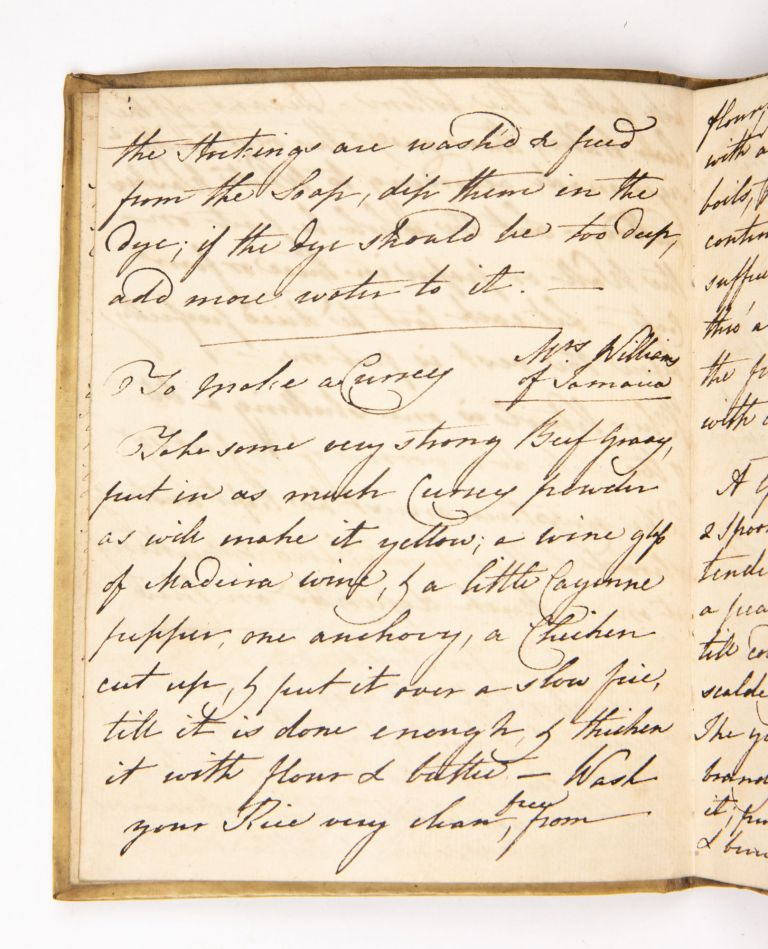 Cookery and Household Recipes notebook. Manuscript on paper, watermark: Britannia, countermark: 1805. With an accounting note in the ms. dated 1835. Anne COOKERY. RECIPES. Michel, 1830s.