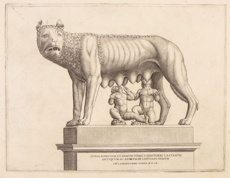 The She-wolf with Romulus and Remus. Nicolas Béatrizet, attrib, Lunéville ca. 1515- Rome ca. 565.